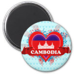 Vintage I Love Cambodia Fridge Magnets