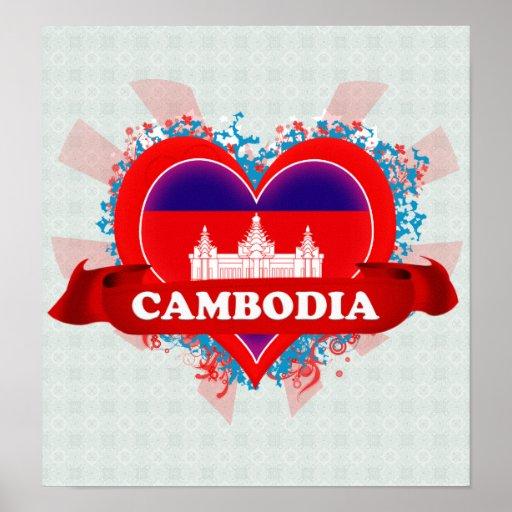 Vintage I Love Cambodia Print
