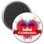 Vintage I Love Cambodia Refrigerator Magnets