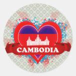Vintage I Love Cambodia Round Sticker