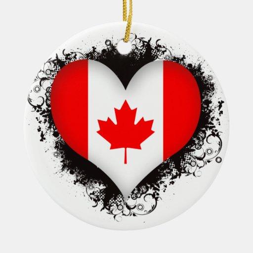 Vintage I Love Canada Christmas Tree Ornament