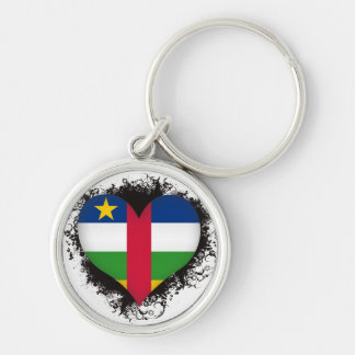 Vintage I Love Central African Republic Silver-Colored Round Keychain