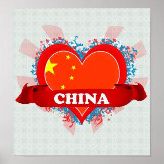 Vintage I Love China Print