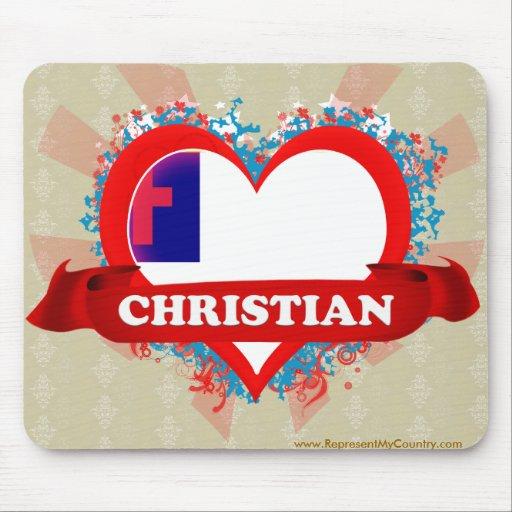 Vintage I Love Christian Mouse Pad
