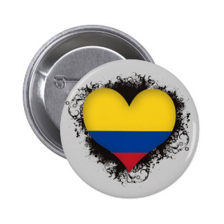 Vintage I Love Colombia Pinback Buttons