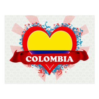 Vintage I Love Colombia Postcard