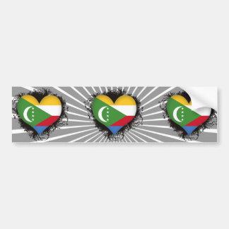 Vintage I Love Comoros Bumper Sticker