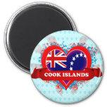 Vintage I Love Cook Islands 2 Inch Round Magnet