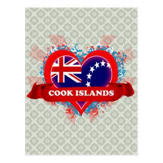 Vintage I Love Cook Islands Postcard
