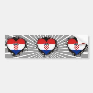 Vintage I Love Croatia Bumper Sticker