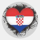 Vintage I Love Croatia Round Stickers