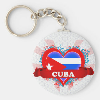 Vintage I Love Cuba Basic Round Button Keychain