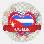 Vintage I Love Cuba Round Sticker