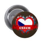 Vintage I Love Czech 2 Inch Round Button