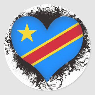 Vintage I Love Democratic Republic of Congo Classic Round Sticker