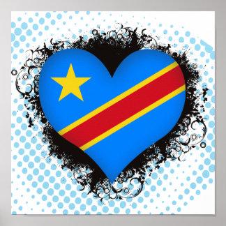 Vintage I Love Democratic Republic of Congo Poster