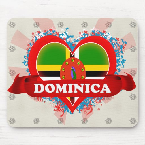 Vintage I Love Dominica Mouse Pad