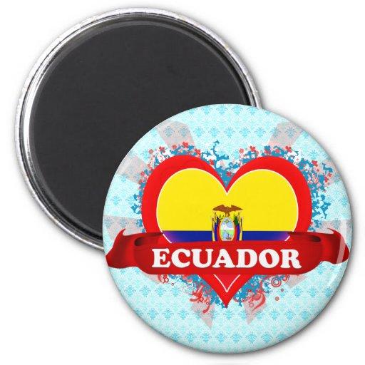 Vintage I Love Ecuador 2 Inch Round Magnet