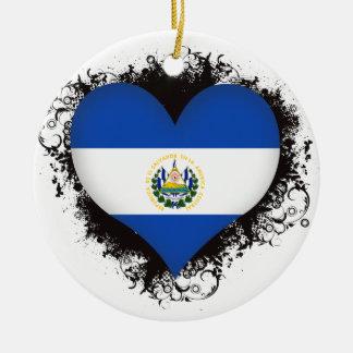 Vintage I Love El Salvador Christmas Tree Ornament