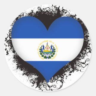 Vintage I Love El Salvador Round Sticker