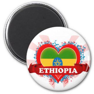 Vintage I Love Ethiopia 2 Inch Round Magnet