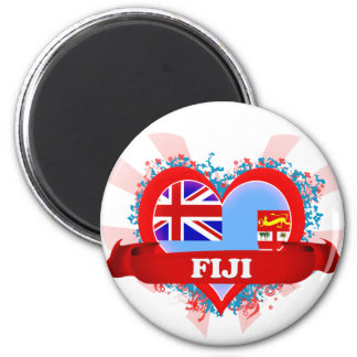 Vintage I Love Fiji 2 Inch Round Magnet