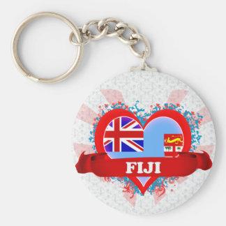 Vintage I Love Fiji Basic Round Button Keychain