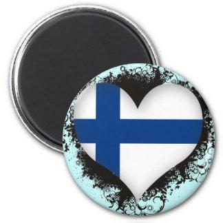 Vintage I Love Finland 2 Inch Round Magnet