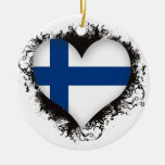 Vintage I Love Finland Double-Sided Ceramic Round Christmas Ornament