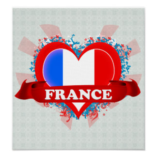 Vintage I Love France Poster
