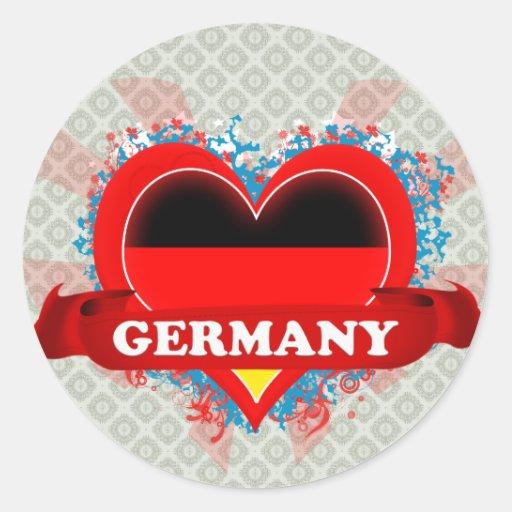 Vintage I Love Germany Stickers