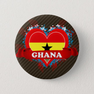 Vintage I Love Ghana Pinback Button