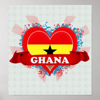 Vintage I Love Ghana Poster