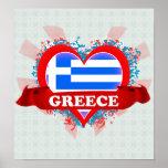 Vintage I Love Greece Poster