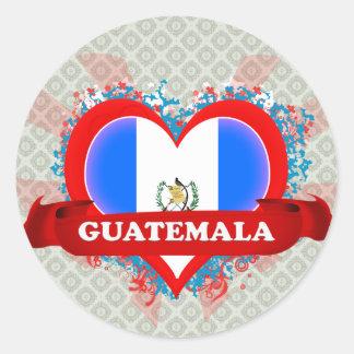Vintage I Love Guatemala Classic Round Sticker