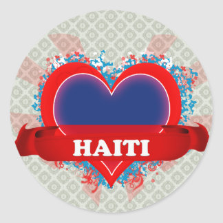 Vintage I Love Haiti Classic Round Sticker
