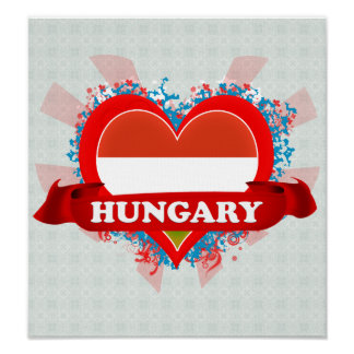 Vintage I Love Hungary Print