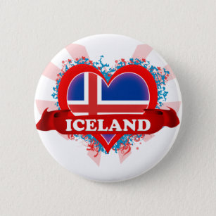 Vintage I Love Iceland Pinback Button