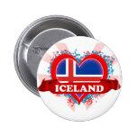 Vintage I Love Iceland Pinback Buttons