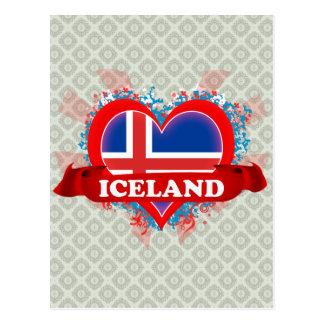 Vintage I Love Iceland Postcard