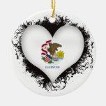 Vintage I Love Illinois Ornaments