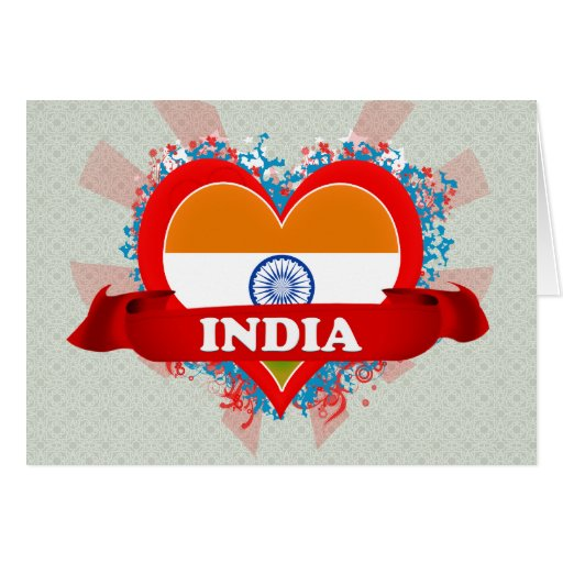 Vintage I Love India Greeting Card