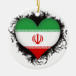 Vintage I Love Iran Christmas Ornament