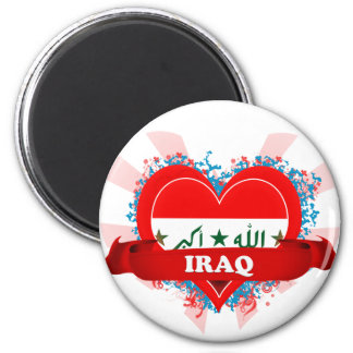 Vintage I Love Iraq 2 Inch Round Magnet