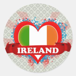 Vintage I Love Ireland Round Sticker