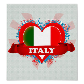 Vintage I Love Italy Poster