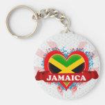 Vintage I Love Jamaica Basic Round Button Keychain
