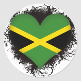 Vintage I Love Jamaica Classic Round Sticker