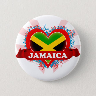 Vintage I Love Jamaica Pinback Button