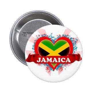 Vintage I Love Jamaica Pinback Button